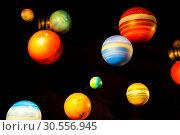 Planetary model on black background. Стоковое фото, фотограф Tryapitsyn Sergiy / Фотобанк Лори
