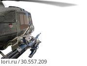 Купить «Closeup of army helicopter with machine gun.», фото № 30557209, снято 9 июля 2016 г. (c) Tryapitsyn Sergiy / Фотобанк Лори