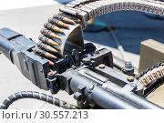 Купить «Closeup of helicopter machine gun.», фото № 30557213, снято 9 июля 2016 г. (c) Tryapitsyn Sergiy / Фотобанк Лори