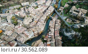 Купить «Aerial view of typical town of Basque Country. Estella-Lizarra. Spain», видеоролик № 30562089, снято 20 декабря 2018 г. (c) Яков Филимонов / Фотобанк Лори