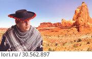 Купить «Serious man in sombrero», фото № 30562897, снято 7 июля 2016 г. (c) Tryapitsyn Sergiy / Фотобанк Лори