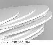 Pile of random shifted white discs, abstract. Стоковая иллюстрация, иллюстратор EugeneSergeev / Фотобанк Лори