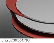 Купить «Pile of random shifted discs, abstract 3 d», иллюстрация № 30564793 (c) EugeneSergeev / Фотобанк Лори