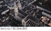 Купить «Aerial night view of gothic Saint-Gatien Cathedral and city Tours, France», видеоролик № 30564801, снято 25 октября 2018 г. (c) Яков Филимонов / Фотобанк Лори
