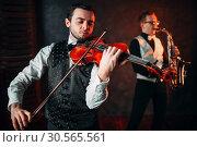 Jazz man and violinst, classical musical duet. Стоковое фото, фотограф Tryapitsyn Sergiy / Фотобанк Лори