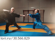 Купить «Male and female wushu fighters exercises indoor», фото № 30566829, снято 26 мая 2017 г. (c) Tryapitsyn Sergiy / Фотобанк Лори