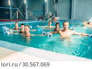 Aqua aerobics, healthy lifestyle, water sport. Стоковое фото, фотограф Tryapitsyn Sergiy / Фотобанк Лори
