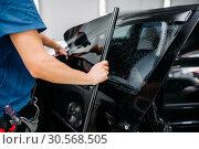 Купить «Male specialist applying car tinting film», фото № 30568505, снято 20 сентября 2017 г. (c) Tryapitsyn Sergiy / Фотобанк Лори