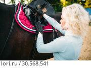 Female rider preparing a horse saddle, Стоковое фото, фотограф Tryapitsyn Sergiy / Фотобанк Лори