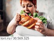 Купить «Fat woman eats sandwich, overweight and bulimic», фото № 30569325, снято 23 ноября 2017 г. (c) Tryapitsyn Sergiy / Фотобанк Лори