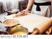 Купить «Chef cooking strudel, pastry ingredients», фото № 30570401, снято 2 февраля 2018 г. (c) Tryapitsyn Sergiy / Фотобанк Лори