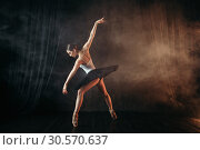 Купить «Ballerina in action, dance training on the stage», фото № 30570637, снято 12 февраля 2018 г. (c) Tryapitsyn Sergiy / Фотобанк Лори