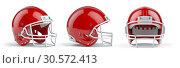 Купить «Set of red american football helmets isolated on white background.», фото № 30572413, снято 18 июня 2019 г. (c) Maksym Yemelyanov / Фотобанк Лори
