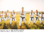 Купить «Karate group with master in white kimono», фото № 30573937, снято 26 августа 2018 г. (c) Tryapitsyn Sergiy / Фотобанк Лори
