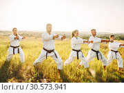 Купить «Karate group with master in white kimono», фото № 30573941, снято 26 августа 2018 г. (c) Tryapitsyn Sergiy / Фотобанк Лори