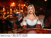 Купить «Sexy waitress with large breasts in pub», фото № 30577025, снято 14 марта 2019 г. (c) Tryapitsyn Sergiy / Фотобанк Лори