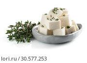 Купить «diced soft cheese isolated», фото № 30577253, снято 21 января 2018 г. (c) Ольга Сергеева / Фотобанк Лори
