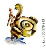 Woman on the beach. Watercolor hand drawn illustration. Sketches. Стоковая иллюстрация, иллюстратор Мария Кутузова / Фотобанк Лори