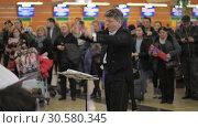 Купить «People giving applause to the choir performing at Sheremetyevo Airport, Moscow», видеоролик № 30580345, снято 22 декабря 2017 г. (c) Данил Руденко / Фотобанк Лори
