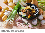 Купить «Delicious salad with chicken hearts, peach, pear, quail eggs and grilled cheese», фото № 30595161, снято 22 мая 2019 г. (c) Яков Филимонов / Фотобанк Лори