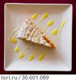 Купить «Almond pie Tarta de Santiago», фото № 30601089, снято 24 июля 2019 г. (c) Яков Филимонов / Фотобанк Лори
