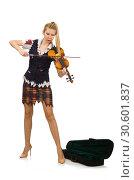 Купить «Woman violin player isolated on white», фото № 30601837, снято 20 октября 2014 г. (c) Elnur / Фотобанк Лори