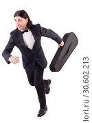 Купить «Man with violin isolated on white», фото № 30602213, снято 30 ноября 2013 г. (c) Elnur / Фотобанк Лори