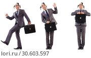 Купить «Funny clown businessman with briefcase», фото № 30603597, снято 24 апреля 2019 г. (c) Elnur / Фотобанк Лори