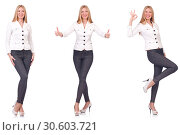 Купить «Beautiful woman in trousers isolated on white», фото № 30603721, снято 26 августа 2019 г. (c) Elnur / Фотобанк Лори