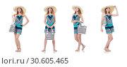 Купить «Pretty woman with summer handbag and panama isolated on white», фото № 30605465, снято 27 августа 2013 г. (c) Elnur / Фотобанк Лори