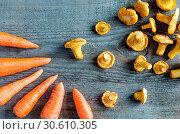 Купить «Chanterelles & carrots», фото № 30610305, снято 3 августа 2013 г. (c) easy Fotostock / Фотобанк Лори
