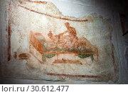 Купить «ITALY, POMPEII- SEPTEMBER 21, 2010: murals, paintings on the walls in the ruins of Pompeii», фото № 30612477, снято 21 сентября 2010 г. (c) Куликов Константин / Фотобанк Лори