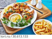 Купить «Aussie Chicken breasts topped with melted cheese», фото № 30613133, снято 2 апреля 2019 г. (c) Oksana Zh / Фотобанк Лори