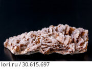 Купить «Macro stone mineral gypsum with calcite on black background», фото № 30615697, снято 17 апреля 2019 г. (c) Катерина Белякина / Фотобанк Лори