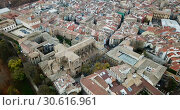 Купить «Aerial view of Pamplona medieval town with fortification in Navarre, Spain», видеоролик № 30616961, снято 23 декабря 2018 г. (c) Яков Филимонов / Фотобанк Лори