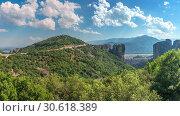 Купить «Varlaam Monastery in Meteora, Greece», фото № 30618389, снято 4 июля 2018 г. (c) Sergii Zarev / Фотобанк Лори