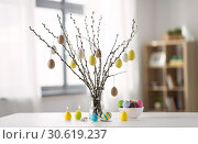 Купить «pussy willow branches decorated by easter eggs», фото № 30619237, снято 22 марта 2018 г. (c) Syda Productions / Фотобанк Лори