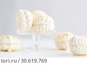 Купить «close up of white zephyr dessert», фото № 30619769, снято 6 июля 2018 г. (c) Syda Productions / Фотобанк Лори