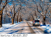 Купить «Car on road in winter, Seoraksan in South Korea.», фото № 30631357, снято 21 августа 2017 г. (c) easy Fotostock / Фотобанк Лори