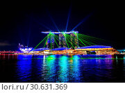 Купить «Singapore city at night with laser show.», фото № 30631369, снято 12 августа 2017 г. (c) easy Fotostock / Фотобанк Лори