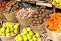 Купить «vegetables and fruits in wicker baskets on counter of greengrocery», фото № 30643569, снято 26 мая 2018 г. (c) Татьяна Яцевич / Фотобанк Лори