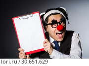 Купить «Funny clown against dark background», фото № 30651629, снято 24 марта 2014 г. (c) Elnur / Фотобанк Лори