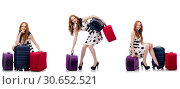 Купить «Beautiful woman in polka dot dress with suitcases isolated on wh», фото № 30652521, снято 25 февраля 2020 г. (c) Elnur / Фотобанк Лори