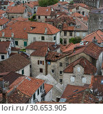 Купить «Buildings in a town seen from the path to Kotor Fortress, Kotor, Bay of Kotor, Montenegro», фото № 30653905, снято 29 января 2020 г. (c) Ingram Publishing / Фотобанк Лори