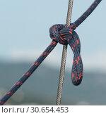Купить «Close-up of rope tied with steel cable, Montenegro», фото № 30654453, снято 10 сентября 2017 г. (c) Ingram Publishing / Фотобанк Лори