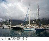 Boats moored at a harbor, Porto Montenegro, Bay of Kotor, Montenegro. Стоковое фото, фотограф Keith Levit / Ingram Publishing / Фотобанк Лори