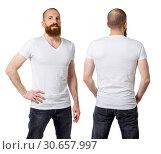 Man with beard wearing blank white shirt. Стоковое фото, фотограф sumners / easy Fotostock / Фотобанк Лори