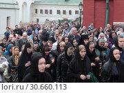 Купить «Страстная пятница в Новодевичьем монастыре, крестный ход», эксклюзивное фото № 30660113, снято 26 апреля 2019 г. (c) Дмитрий Неумоин / Фотобанк Лори