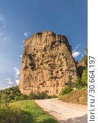 Купить «Rock formation in Meteora, Greece», фото № 30664197, снято 4 июля 2018 г. (c) Sergii Zarev / Фотобанк Лори
