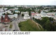 Купить «Panoramic aerial view of city center and Golden Gate in Vladimir, Russia», видеоролик № 30664497, снято 29 июня 2018 г. (c) Яков Филимонов / Фотобанк Лори
